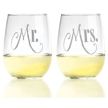Mr amp Mrs Wine Glass Set  Rich Silver Lettering on Stemless Glasses  For Couples  Engagement Wedding Anniversary House Warming Hostess Gift 17 ounce