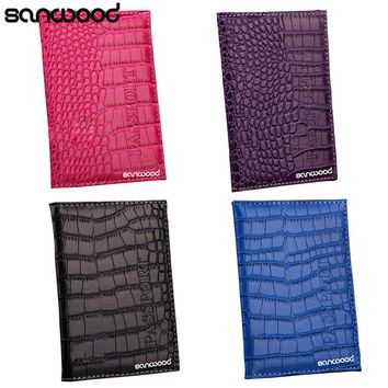 Newest Alligator Embossing Faux Leather Passport Holder ID Card Ticket Organizer Case
