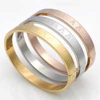 Men And Women Stainless Steel 18K Gold Plated Couples Bracelet Carving Roman Numerals Lover Cuff Bangle Bracelet Wedding Jewelry