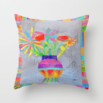 Flower Vase | Kids Painting | 3D Collage Throw Pillow by Azima