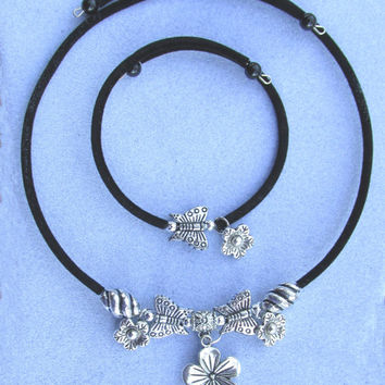 Butterfly Flower Jewelry, Black Cloth Covered Memory Wire Butterfly Necklace, Bracelet & Earrings, Antique Silver Color Beads, Ready To Ship
