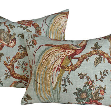Peacock Bird Pillows - Large Cushion Covers by PillowThrowDecor