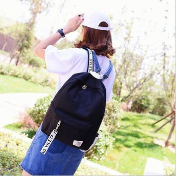 University College Backpack Korean version of the simple shoulder bag canvas travel bag  style fashion Laptop  male and female students bagAT_63_4