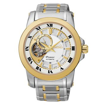 Men's Seiko Premier Automatic Two-Tone Open Heart Watch