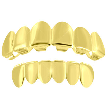 6 Teeth Grillz Top Bottom Set Yellow Finish Plain Custom