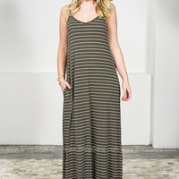 Orlando Grey Striped Maxi Dress