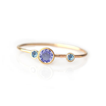 14kt Gold Tanzanite and Topaz Adele Ring