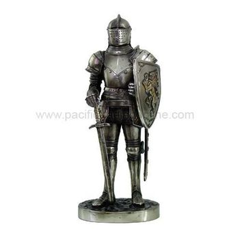 Medieval Knight with Lion Shield and Sword Statue