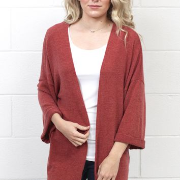 Favorite Knit Kimono Cardigan {Brick} EXTENDED SIZES