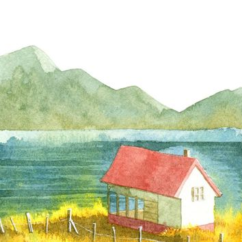 """Home and Mountain and Lake and Yellow Field"" - Art Print by Bew Wanchai"