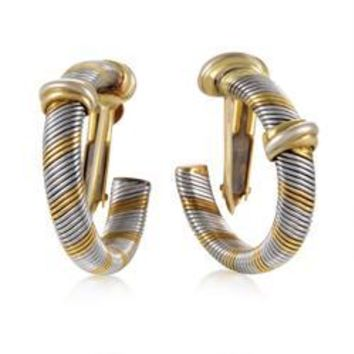 Cartier Yellow Gold Stainless Steel Hoop Earrings