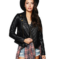 LAYERED FAUX LEATHER BOMBER JACKET