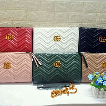 """Gucci"" Women Fashion Quilted GG Letter Single Shoulder Messenger Bag Metal Chain Big Bag"