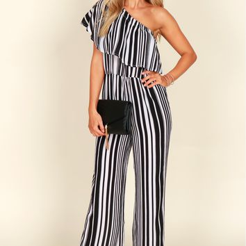 One Shoulder Striped Jumpsuit Black & Multi