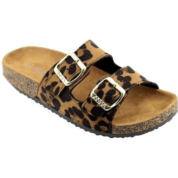 Stylish Double Buckle Sandal, Leopard