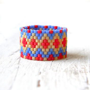 Boho ring Bohemian ring Ethnic ring Wide boho rings Seed bead jewelry Hippie ring Boho handmade ring Multi color ring on middle finger