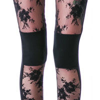 Widow Embraced Lace Leggings Black