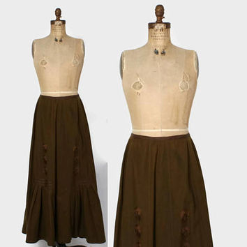 Vintage Victorian Skirt / 1900s Brown Wool Embroidered Ribbon Silk Trim Walking Skirt M