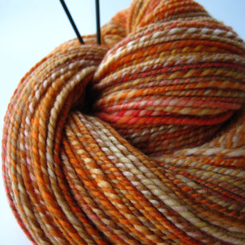 hand spun yarn, handspun yarn, hand dyed yarn, hand painted yarn, merino wool, 2 ply, orange pink yellow yarn, worsted weight, aran weight
