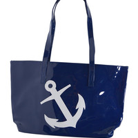 Nautical Oversized Shiny Anchor Logo Beach Tote Bag