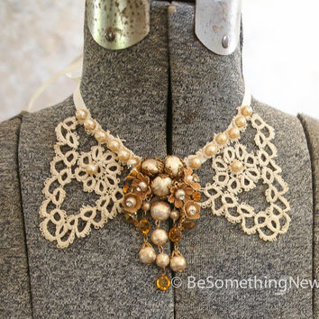 Vintage lace and gold broach wedding collar, wedding jewelery, necklace