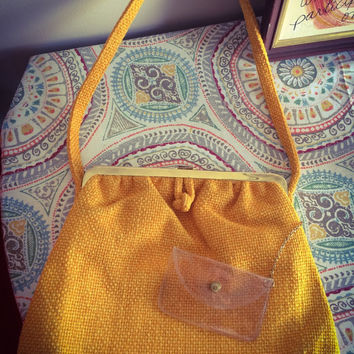 Vintage 1960's Mod JR of Miami Burlap Orange Handbag