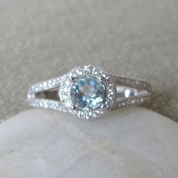 Halo Aquamarine Engagement Ring- Silver Ring- Promise Ring- Birthstone Ring- Gemstone Ring- Bridal Wedding Ring- Double Band Ring