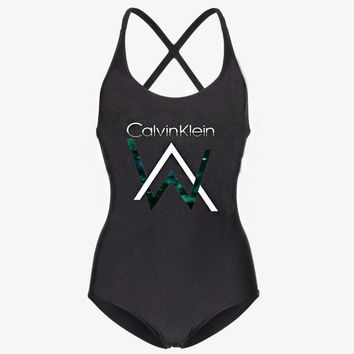 CK Calvin Klein Summer Popular Women Print One Piece Bikini Swimsuit Bodysuit Black