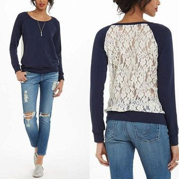 Women's Lace Back Patchwork Hoodies Full Sleeve Tops = 1931797956