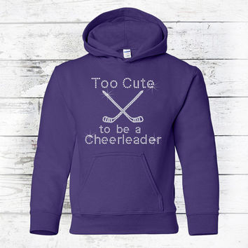 Girls Hockey - Hockey Sweatshirt - Hockey Hoodie - Girls Clothing - Bling Hoodie Sweatshirt - Hockey Shirt - Hockey Mom
