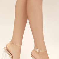 Clear to See Rose Gold Lucite Heels