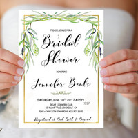 Greenery Bridal Shower Invitation Printable Simple Bridal Shower Invite Green Gold Bridal Shower, Botanical Bridal Invite Digital or Printed