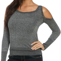 Cold Shoulder Lurex Sweater | Shop Tops at Wet Seal