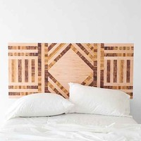 Wood Collage Headboard Wall Decal- Brown One