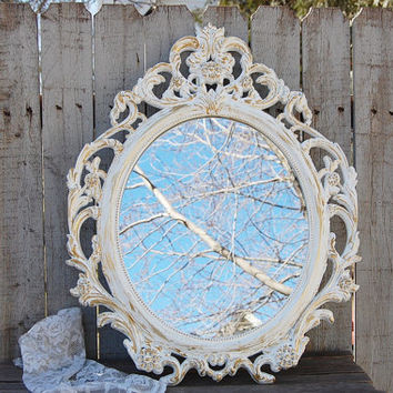 Mirror, Shabby Chic, Baroque Mirror, White, Gold, Oval, Upcycled, Ornate, Wedding Decor, Painted Mirror, Hollywood Regency, Photo Prop