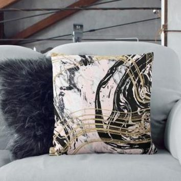 Black Gold Marble Print Pillow Cover