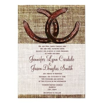 Rustic Horseshoes Burlap Print Wedding Invitations