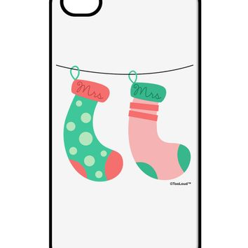 Cute Mrs and Mrs Christmas Couple Stockings iPhone 4 / 4S Case  by TooLoud