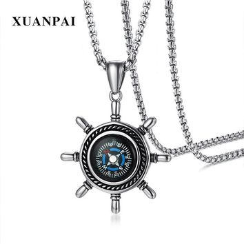 "XUANPAI Punk Men's Necklace Rudder Compass Pendant Stainless Steel Stylish Male Jewelry Sailor Navy Gift Free 24"" Chain"