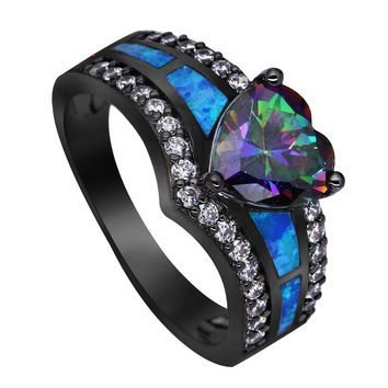 Vintage Black Gold Color Rainbow Purple Green Blue Opal Ring Jewelry Gift