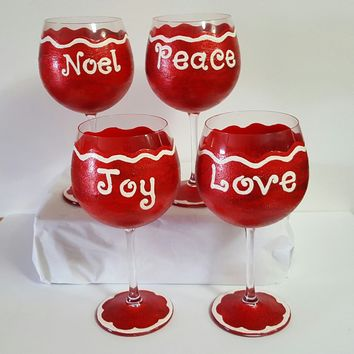 Christmas wine glasses, noel, Joy, peace, love, wine glass, set of 4, hand painted, high quality wine glass, decorated winter wine glasses