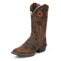 Justin Mens Buffalo Silver Collection Whiskey Western Boots