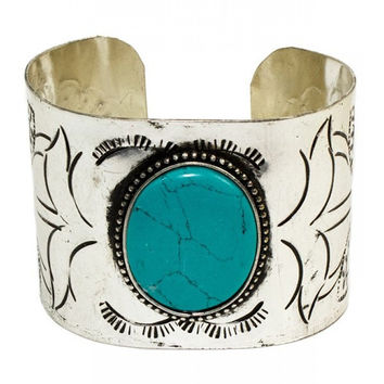 Distressed Turquoise Silver Cuff Bracelet