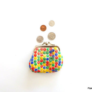 Colorful Coin Purse 1970s Coin Pouch Knitted Purse Beaded Coin Purse