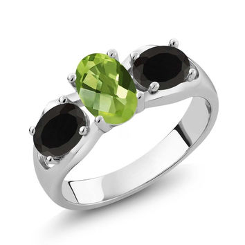 1.63 Ct Oval Checkerboard Green Peridot Black Onyx 925 Sterling Silver Ring