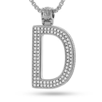 "White Gold Letter ""D"" Necklace"