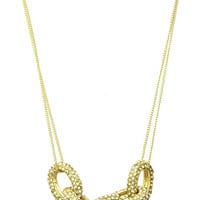 NECKLACE / PAVE CRYSTAL STONE / CHUNKY LINK / METAL SETTING / DOUBLE CHAIN / 16 INCH LONG / 1/2 INCH DROP / NICKEL AND LEAD COMPLIANT