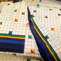 80's Bed Sheet Set, Grid Pattern, Cannon Mills