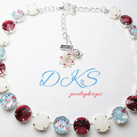 Peppermint Blizzard, 12mm Swarovski Crystal Necklace, Hand Painted, Sparkle, Holiday Jewelry, DKSJewelrydesigns,FREE SHIPPING