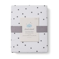 Baby Fitted Sheet cloud island- White Grey